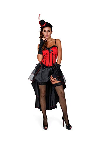 Burlesque Costume, Showgirl Dress Cape Women, Red and Black, Small ()