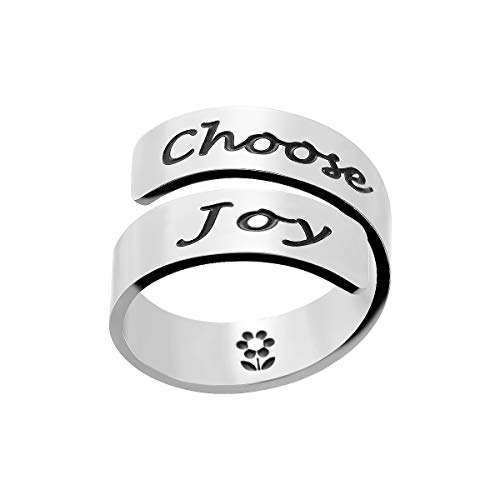 (omodofo Inspirational Motivational Ring Adjustable Personalized Stainless Steel Spiral Wrap Twist Ring Encouragement Personalized Jewelry Birthday Gifts for Girls (Choose Joy))