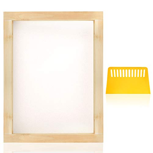 PP OPOUNT 8 x 10 Inch Wood Silk Screen Printing Frames with 110 White Mesh and 1 Piece Plastic Scraper for Screen Printing