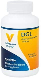 The Vitamin Shoppe DGL Deglycyrrhizinated Licorice 760MG, Stomach Soothing Herbal Supplement 100 Chewable Tablets