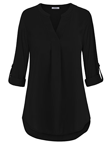Casual Tunic Shirt,Business Casual Tops for Women Loft Clothing Pleated Front Swing Flowy Tops Prime Dressy Designer Fall Clothing Black,XL by Youtalia Direct (Image #6)