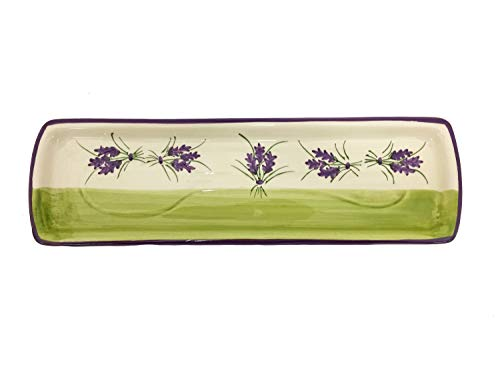 Terre 015262 White/Green Spoon Rest with Lavender Design and Lavender Trim, 11