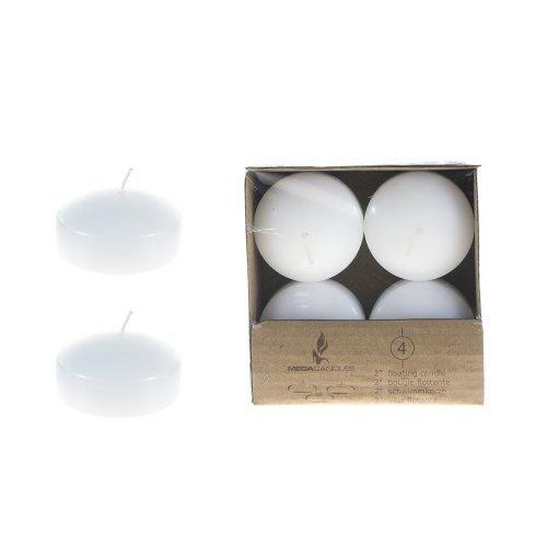 Mega Candles - Unscented 2' Floating Disc Candles - White, Set of 12