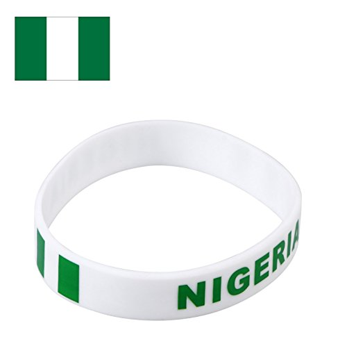 TDoperator Nigeria Flag Silicone Bracelet FIFA World Cup 2018 For Soccer Fan Unisex Design Soft and Durable Wristband for National Football Supporters Fans Fashion Sport Wrist Strap Souvenir Gift ()