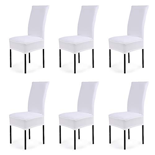 CosyVie Super Fit Universal Stretch Dining Chair Covers, Removable Washable Slipcovers for Dining Room Chairs 6 Pcs/Pack (White)
