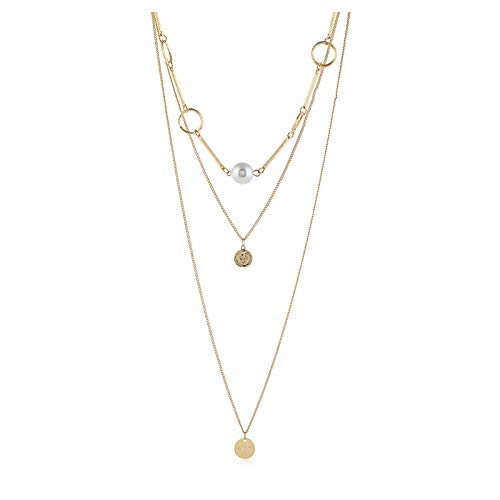 (Fashion 3 Layered Necklace Bohemia Bar Pendant Alloy Jewelry for Women and Any Occasions,Gold)
