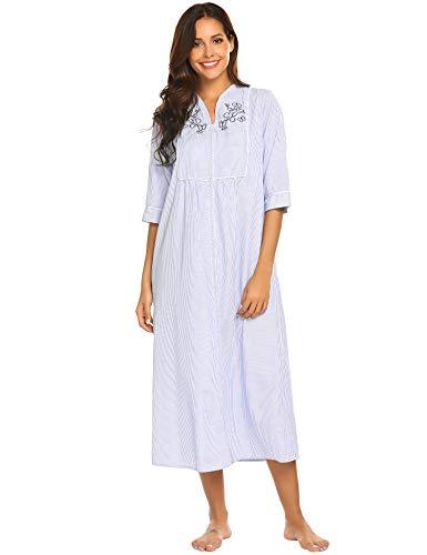 ADOME Damen Nachtwäsche Polka Dots Nachthemd Pyjama Frauen Nachtkleid Langarm Bluse Sleepshirt
