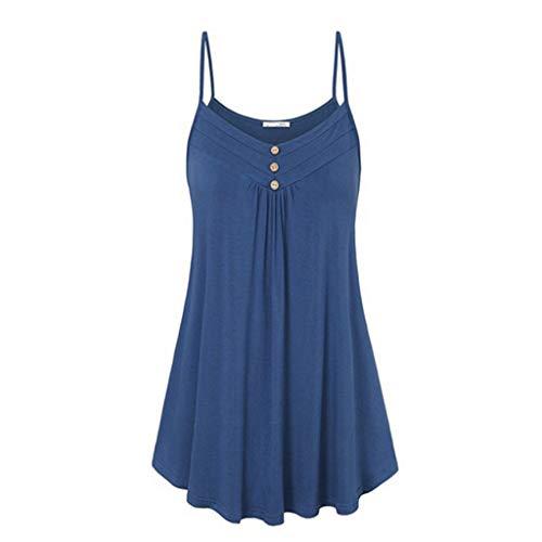 TOPUNDER Summer Dresses for Women Sleeveless Spaghetti Strap Double Breasted Plain Shift Dress Blue