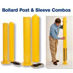 Eagle 1744PS Steel Bollard Post and Poly Sleeve Combos with Kit, 4