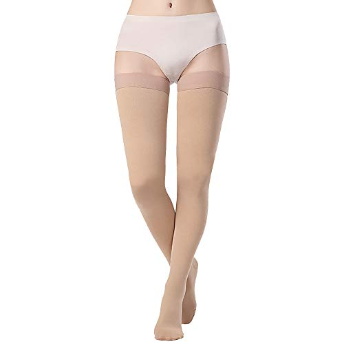 SKYFOXE Medical Thigh High Compression Stockings for Women Men- Closed Toe Firm Support 15-20 mmHg Gradient Compression Socks Support Hose for Treatment Swelling, Varicose Veins, Edema