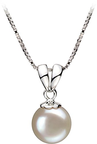 [PearlsOnly - Sally White 9-10mm Freshwater 925 Sterling Silver Cultured Pearl Pendant] (Easy Sally Costumes)