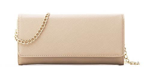 Ferrara Women's Faux Saffiano Bifold Cross Body Clutch Wallet, Beige, Regular