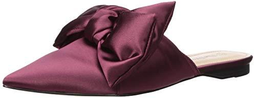 The Drop Women's Essen Bow Pointed Toe Flat Mule Sandal, Merlot, - Mules Satin