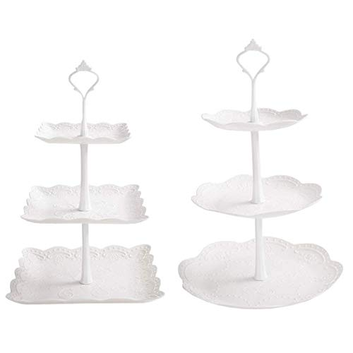 2 Set 3-Tier White Dessert Cake Stand, Plastic Pastry Stand Small Cupcake Stand Cookie Tray Rack Candy Buffet Set Up Fruit Plate and Trays for Wedding Home Birthday Party Decor Serving Platter (3 Stand Tier Cookie)