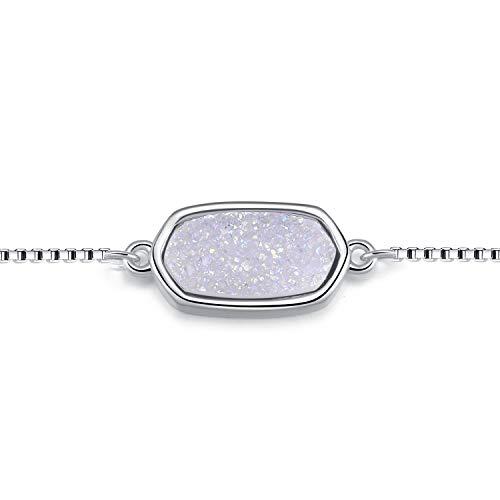 Ellena Rose 100% Natural Druzy Bar Bracelet - 14K Gold Plated Dainty Oval Druzy Link Bracelet Women, Adjustable in Length (White)