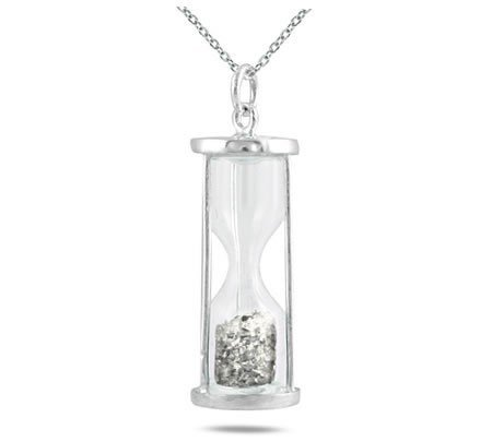(Natural Diamond 0.50 Ct Time in Bottle Dust Hourglass Pendant .925 Sterling Silver)