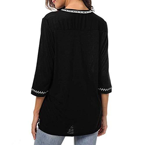 Femmes 4 Chemisiers 3 Manches Chemises Blouse V Automne et Boho Blouses MuSheng Col Noir Imprimer tYxqdFwY