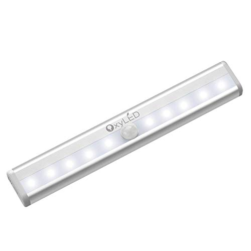 Motion Sensor Closet Lights, OxyLED Cordless Under Cabinet Lighting, Stick-on Anywhere Wireless Battery Operated 10 LED Night Light Bar, Safe Lights, 1-Pack