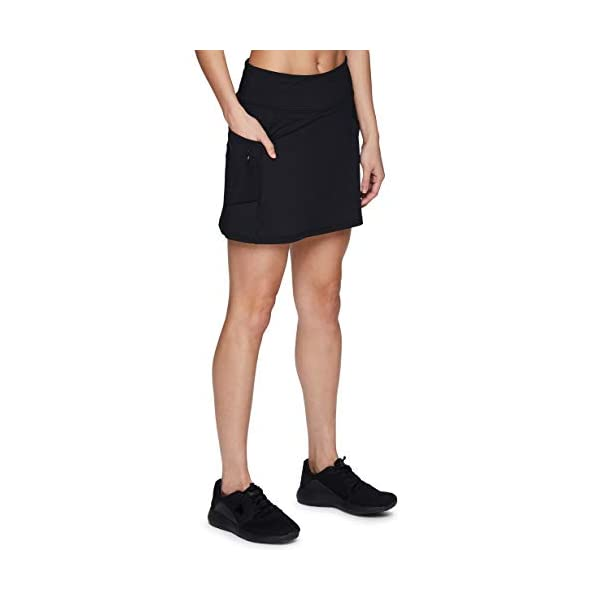 RBX Active Women's Fashion Stretch Knit Flat Front Golf/Tennis Athletic Skort with Attached Bike Short and Pockets 11