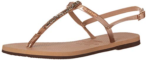 Havaianas Women's You Riviera Crystal Sandals Rose Gold 35-36 M - Sandals Embossed Havaianas