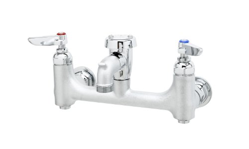 R Wall Mount Service Sink Faucet with 8-Inch Centers, Vacuum Breaker, Built-In Stops, Rough Chrome ()