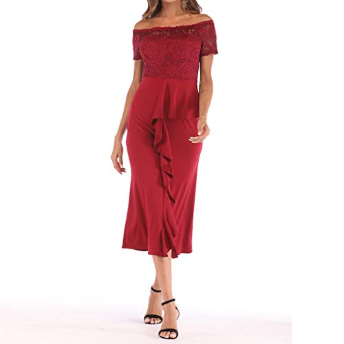 One Shoulder Lace,Youngh Fashion Women One Shoulder Lace Splice Off Shouder Casual Long Dress Red by Youngh Dress (Image #7)