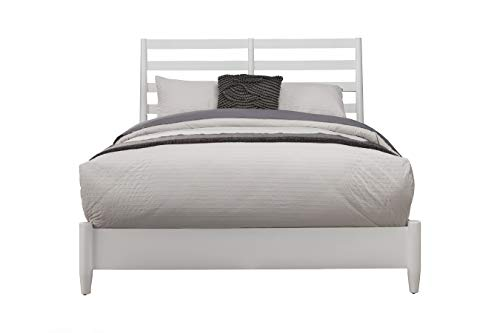 Alpine Furniture Transitional Eastern King Size Wooden Bed with Slat Back Headboard, White