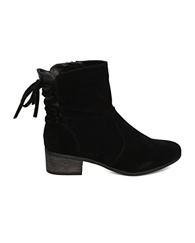 Everyday Breckelles Faux Stacked Boot Suede Heel Up GC50 Black Dressy Casual Women Lace Bootie by ZxHr1Zn8