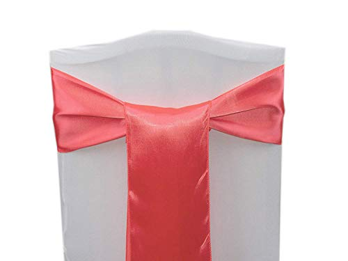 mds Pack of 100 Satin Chair Sashes Bow sash for Wedding and Events Supplies Party Decoration Chair Cover sash -