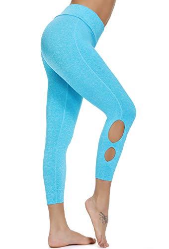 LETAOTAO Yoga Pants Capri Leggings Plus Size High Waist for Women Sky - Sky Capris Blue Womens