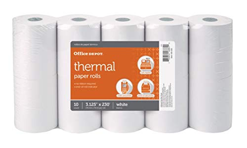 - Office Depot Thermal Paper Rolls, 3 1/8in. x 230ft, White, Pack of 10, 109282