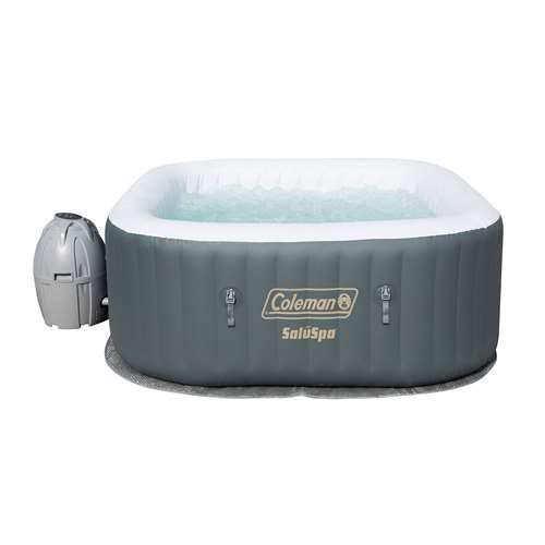 Coleman SaluSpa 4 Person Portable Inflatable AirJet Spa Hot Tub, Gray ()
