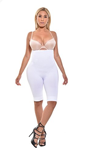 Your Contour Seamless Shapewear Extra Firm Control Thigh Slimmer (White, Medium)