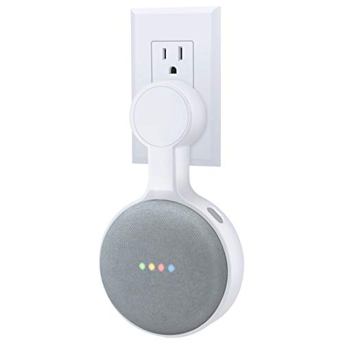 AMORTEK Outlet Wall Mount Holder for Google Nest Mini (Home Mini 2nd Gen), A Space-Saving Accessories for Google Nest Mini Voice Assistant 2nd Generation (White)