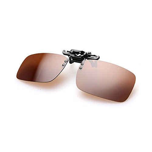 Clip on Sunglasses Flip Up Polarized Sunglasses Eyeglass by AUUS, Frameless Rectangle lens UV400 Anti Glare Glasses for Driving Fishing Cycling Walking Outdoor