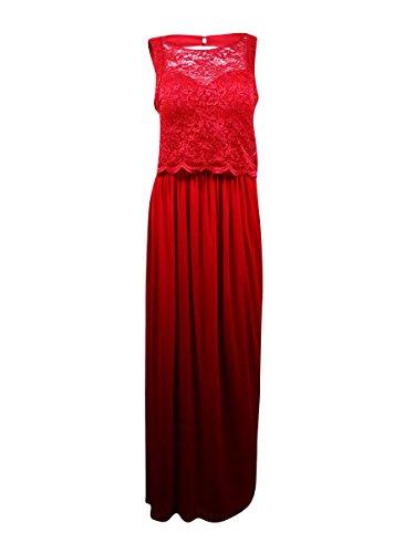 Nightway Women's Glitter Lace Popover Chiffon Skirt Dress (8, Red)