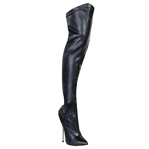 Summitfashions Black Stretch Thigh High Fetish Boots with Back Laces and 6.25 Inch Brass Heels Size: 9