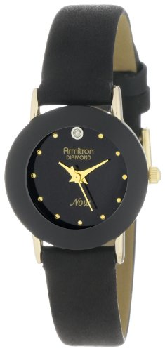 Armitron Women's 75/2447BLK Diamond-Accented Watch with Black Leather