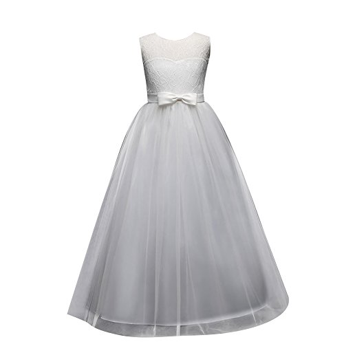 Children dress Little Big Girls'Tulle Dresses 6-14T Ruched Lace Pageant Party Fall Wedding Bridesmaid Floor Length Evening Dance Gowns White - Ruched Ball