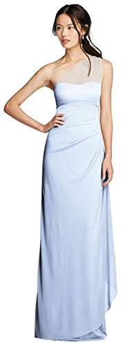 David's Bridal Long Mesh One Shoulder Illusion Bridesmaid Dress Style F19074, Ice Blue, 0