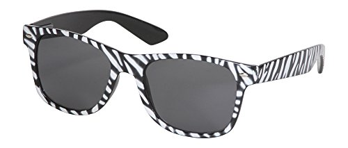 QLook Whole Zebra Print Animal Horn-rimmed Style Sunglasses, White