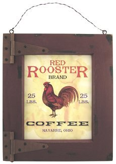 Ohio Wholesale Red Rooster Coffee Plaque Wall Art, from our Store Collection