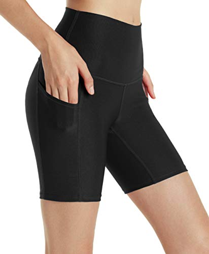 "Tesla TM-FYS14-BLK_Small Shorts 7"" High Waist Training Active Fitness Running Bike w Side Pockets FYS14"