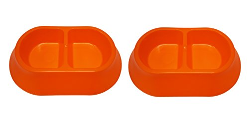 Oblong Divided - Set of 2 Large Pet Bowls! 3 Different Styles and 6 Different Colors! BPA FREE! (Orange Oblong 2pk)