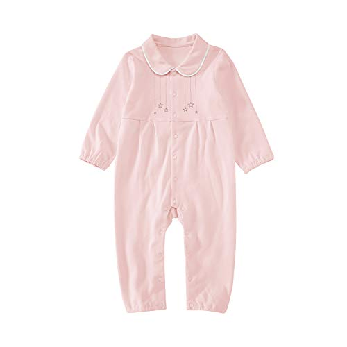 ront Coverall 100% Cotton Jumpsuit Newborn Onesie Bodysuit Sleep Romper Pajamas Long Sleeve Pink 9-12 Months ()