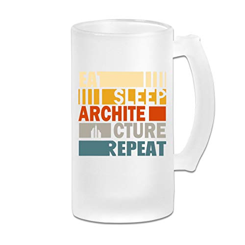 Eat Sleep Architecture Repeat Frosted Glass Stein Beer Mug - Personalized Custom Pub Mug - 16 Oz Beverage Mug - Gift For Your Favorite Beer Drinker