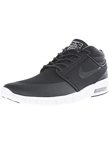 Nike Men's Stefan Janoski Max Mid Black/Blacl/Mtllc Silver/White Skate Shoe- 8
