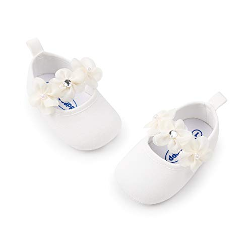 Meckior Infant Baby Girls Soft Sole Prewalker Crib Mary Jane Shoes Princess Light Shoes (6-12 Months, A-White)
