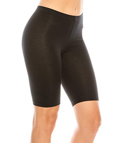 (C&C Style Women's Stretch Jersey Bike Yoga Running Workout Bermuda Shorts Tights Pants Under Short Leggings S to 3XL Plus (Large, Black) )