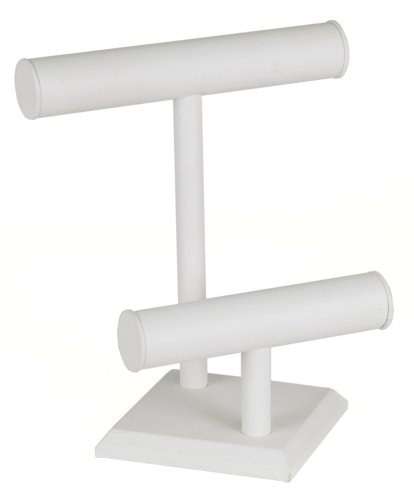 KC Store Fixtures 49133 Jewelry T-Bar Display for Necklace and Bracelets, 2-Tier, White Leatherette, 11 Inches High
